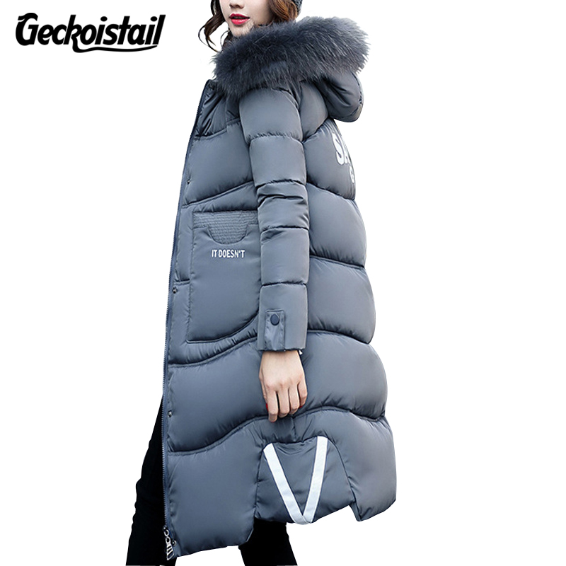 Geckoistail Winter Womans Fashion Jacket Coat Fur Collar Hooded Down Jackets Parka Slim Thickening Warm Woman Cotton Parka Coats запонки mitya veselkov пули двухцветные