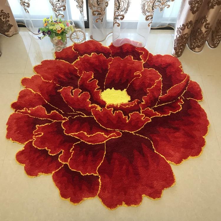 Китайский стиль красный пион цветок ковровая плотная гостиной и спальни ковер розовый цветок дверь коврики Свадебные гостиная Холл ковры - Цвет: 3