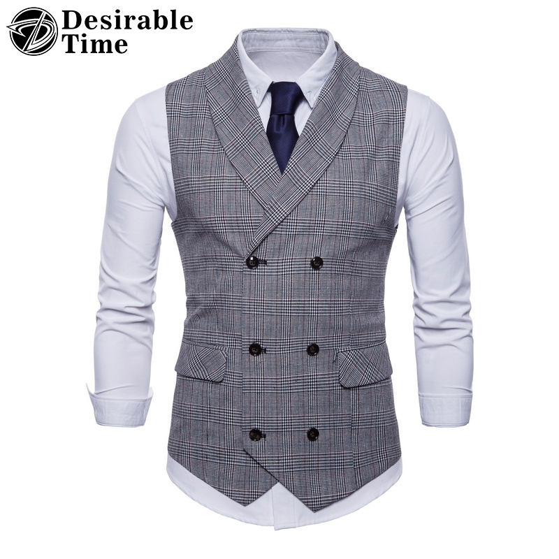 Men Double Breasted Wedding Suit Waistcoat Vests Men Sleeveless Business Overcoats Gary Striped Casual Vest DT477