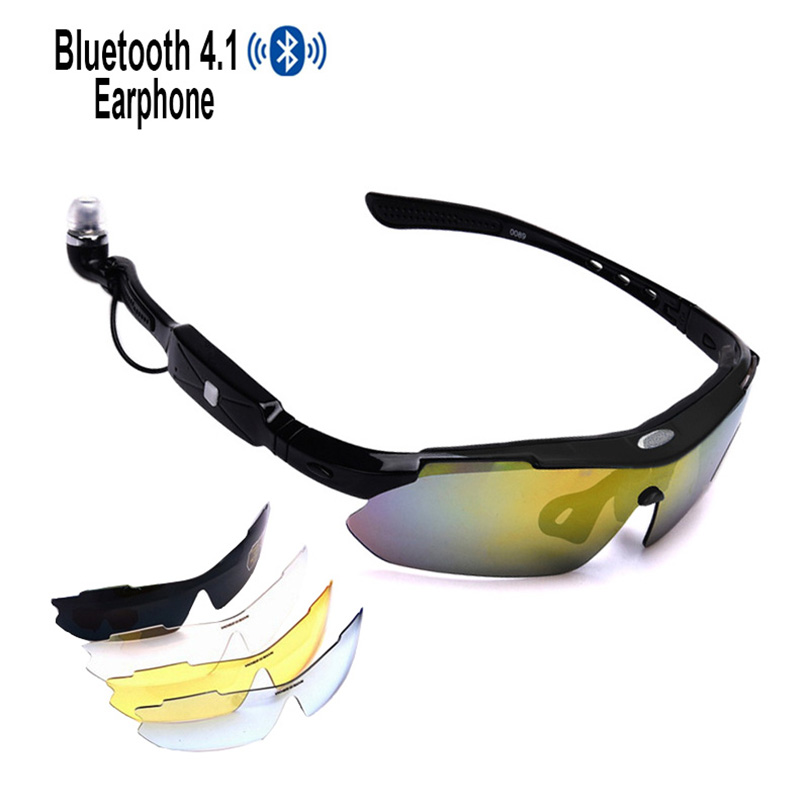 Smart Bluetooth Sunglasses 5 Lens 4.1 Polarized Cycling Glasses Men Motorcycling MP3 Phone Eyewear Goggles(only black)