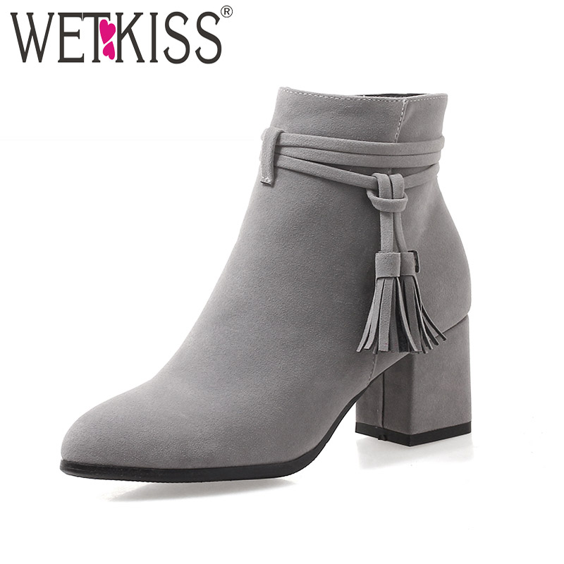 цены WETKISS Plus Size 43 Thick High Heels Ankle Women Boots Round Toe Tassel Footwear Flock Female Boot Zip Shoes Women 2018 New