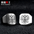double eagle emblem russian stainless steel engrave jewelry for men fashion high quality coat of arms of the Signet biker Ring