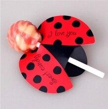 50 pc/set inseto doces lollipop cartão crianças festa de aniversário decoração do casamento doces presentes decorações de casamento