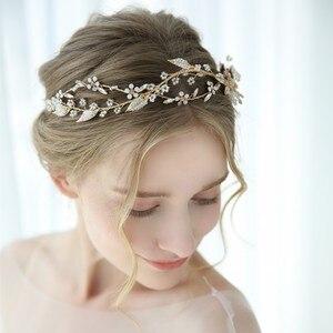 Image 5 - Jonnafe Delicate Bladgoud Vrouwen Prom Hoofddeksel Haarband Bloemen Bridal Tiara Haar Kroon Handgemaakte Bruiloft Hoofdband Accessoires