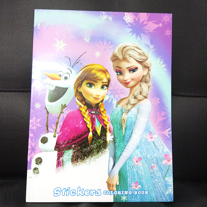 16 pages Snow Princess Girls Coloring Book Sticker Book For kids Children Adults colouring Painting Drawing story color books   (6)