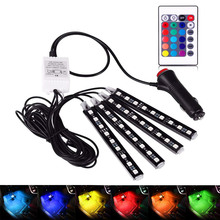 4pcs Car RGB LED Strip 5050 Light Lights 8 Colors Styling Decorative Atmosphere Lamp Interior Foot With Remote