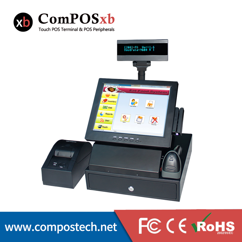 12 Inch Led Panel Pos Cash Register Terminal All In One With Cash Drawer And Printer Cash Systems Restaurants Equipments pure screen 15 inch cash register with printer cash drawer customer display and scanner all in one pc pos system for restaurant