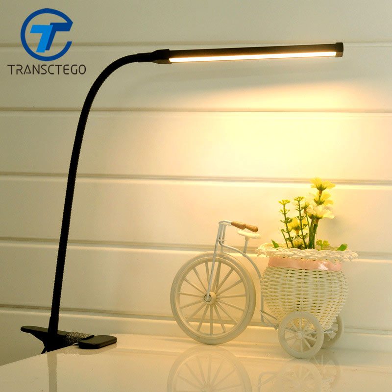 LED Clip Light Type Desk Clamp Lamp Dimming Reading eye USB Lamps Table Lights Dimmable 2 Lighting Colors купить