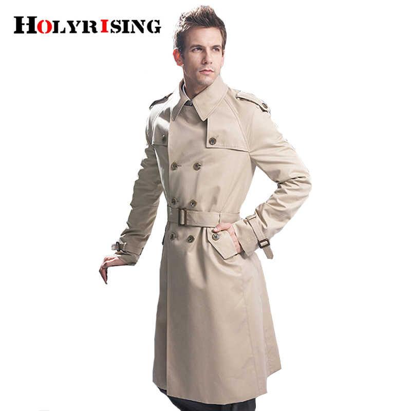 Casaco transpassado clássico masculino, trespassado duplo, roupas compridas estilo britânico, tamanho S-6XL