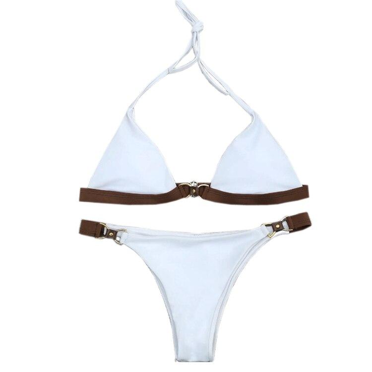 Neue Feste Farbe Bikini Set Badeanzug Badeanzug Bademode Bademode
