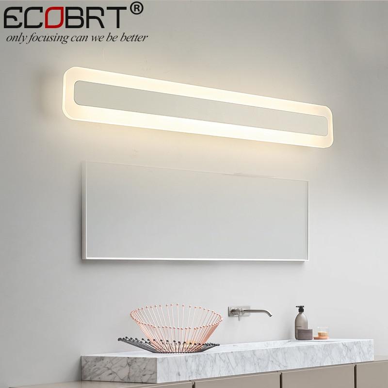 ECOBRT Modern LED Mirror Lights Lamps 40cm 50cm long Square Indoor Wall Mounted Acrylic Bar Lights 14W 16W AC 100-240V AC