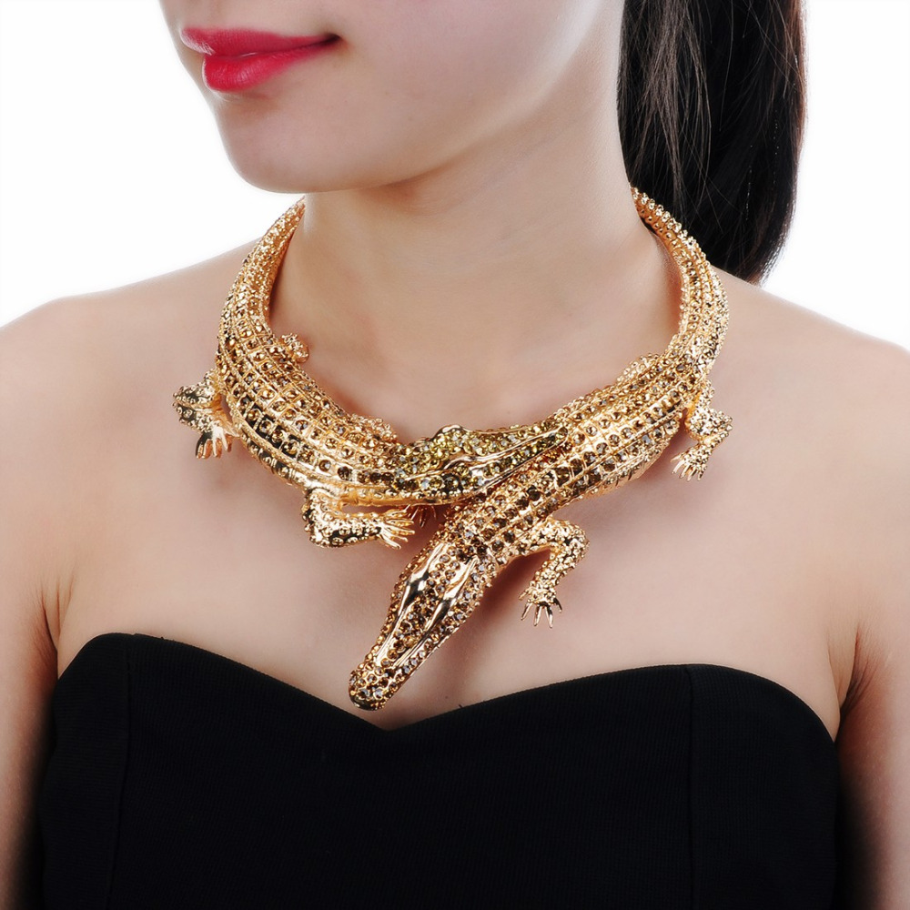 JEROLLIN Big Crocodile Necklaces Inlay Full Rhinestones Women Big Choker Statement Jewelry Bib Collar Maxi Necklace plus size funnel collar maxi asymmetric hoodie