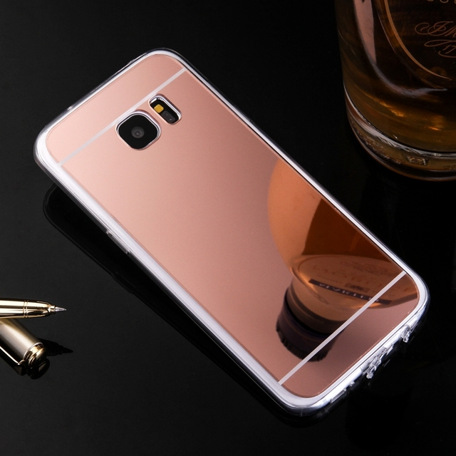 new products d0d3e ae40a US $1.52 20% OFF|Luxury New Cover For Samsung Galaxy S6 S7 Edge S8 S9 Plus  Note 8 Case Mirror case Aluminum TPU Back Phone cover accessories-in Fitted  ...