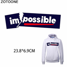 ZOTOONE Impossible Appliques Simple Letters Iron on Transfer Patches for Clothing Heat Transfers Clothes DIY Kids T-Shirt