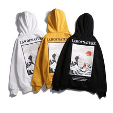 2019 Nieuwe Japanse Borduren Grappige Kat Wave Gedrukt Fleece Hoodies Winter Japan Stijl Hip Hop Casual Sweatshirts Streetwear(China)
