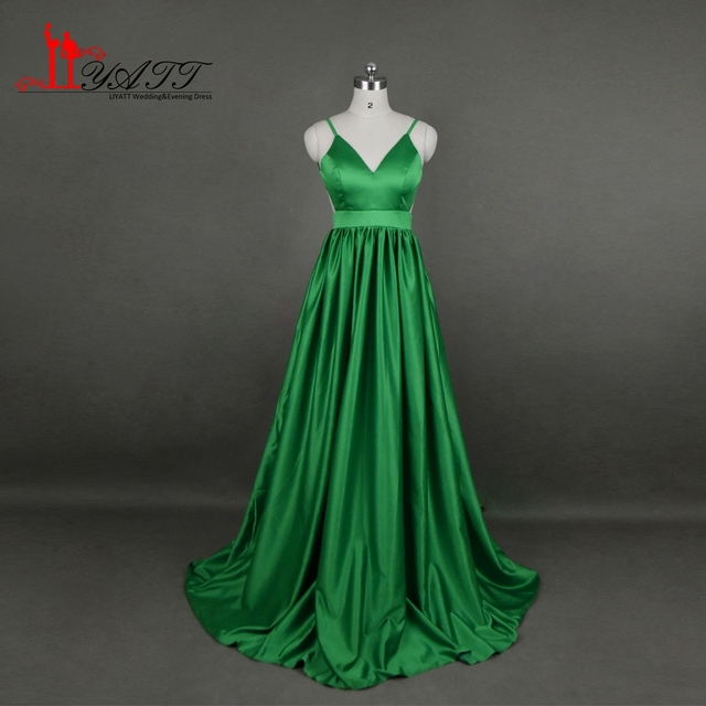 robe de soiree Sexy Prom Dresses 2017 New Long Floor Length Green Satin Backless Evening Dress Fomal Gowns abendkleider LK044