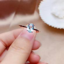 Anillo de Aguamarina Natural, plata 925, estilo simple, gemas de 1 quilate, calidad limpia, precio barato
