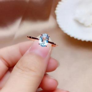 Image 1 - Natural aquamarine ring, 925 silver, simple style, 1 carat gems, clean quality, cheap price