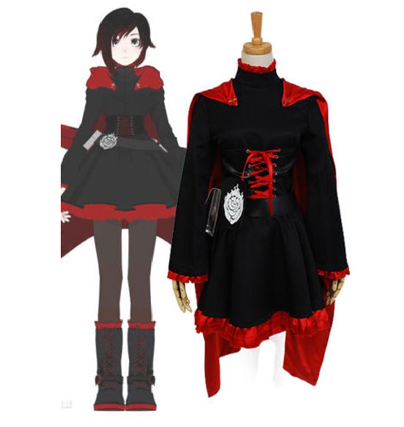 RWBY Red Trailer Ruby Cosplay Costume Uniform Anime Halloween Dress