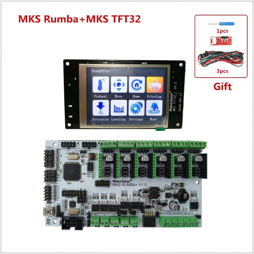DIY 3D printer units MKS Rumbaplus + MKS TFT32 v4.0 display LCD all in one board controller card Rumba-board electronic diy kit