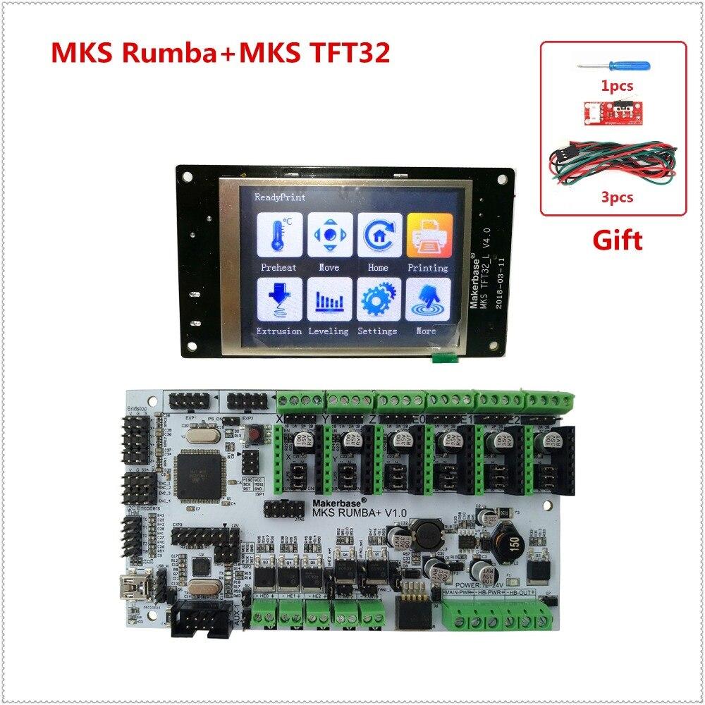 DIY 3D unidades de impresora MKS Rumbaplus + MKS TFT32 v4.0 pantalla LCD todo en un tablero tarjeta controladora Rumba- tablero Electrónico diy kit