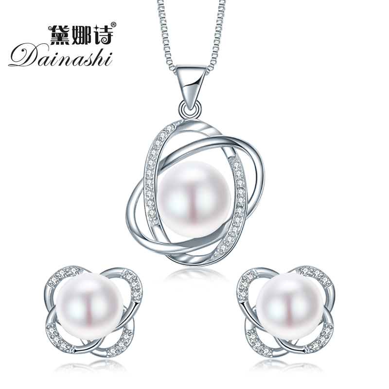 Dainashi 2017 Top Quality Trendy Cross 925 Sterling Silver Jewelry Sets Pendant Necklace Earring Pearl Pendant