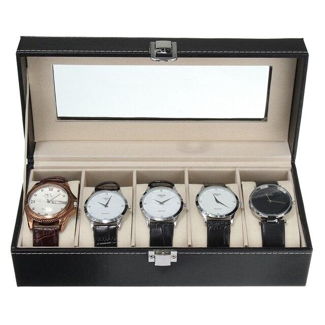 NEW!!!Luxury 5 Grid Leather Watch Box Jewelry Display Collection Storage Case Watch Organizer Box Holder