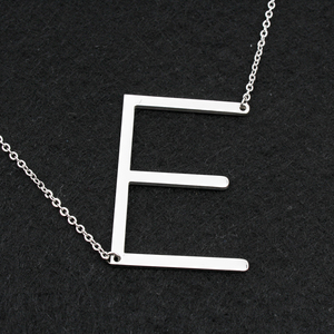 Image 1 - Fashion necklaces for women 2018 big 26 Letter Necklaces  stainless steel chain choker femme women jewelry DHL free wholesa