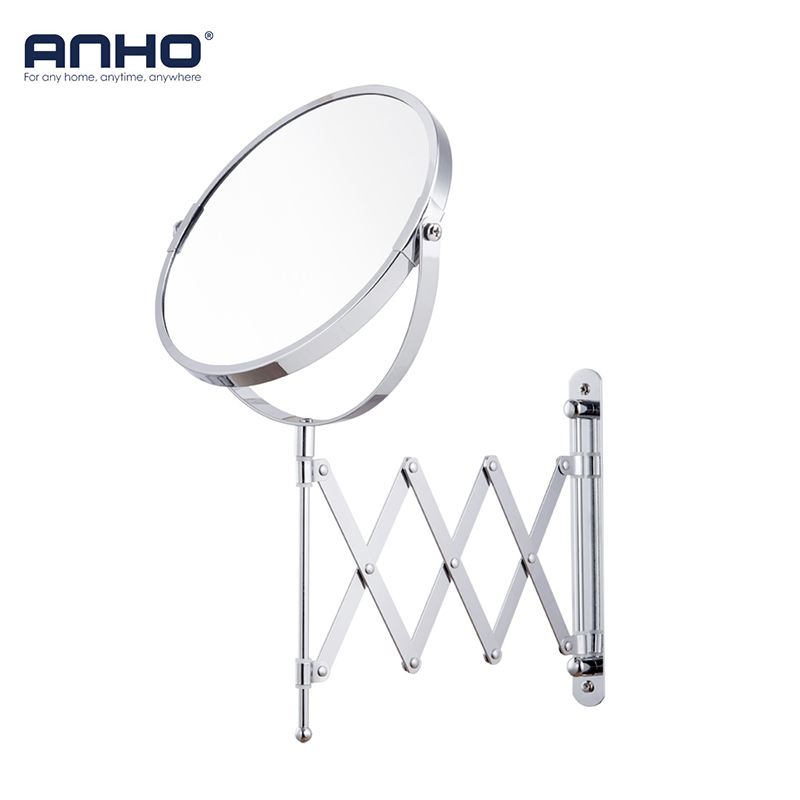 ANHO Makeup Mirror Wall Mounted 7 1X/5X 360 Rotating Adjustable Double Sided Free Magnifier Cosmetic Arm Extend Bathroom Mirror new fashion 6 inches led bathroom mirror dual arm extend 2 face metal makeup mirror 5x magnifying wall mounted extending folding