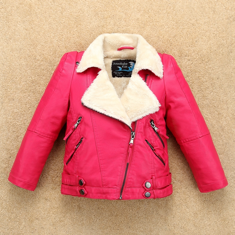 Fleece Thick Girls Leather Jacket with Fur Collar for Autumn Winter Kids Warm Coat Bomber Children's Clothing Baby boys jacket print bomber jacket with track pants page 3