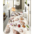 Modern Floor painting HD beach shells starfish World Waterproof Bathroom kitchen PVC Wall paper Self wall sticker Floor mural