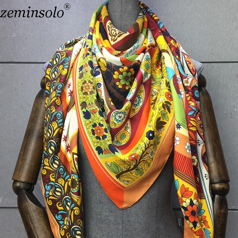 130*130cm Bandana 100% Silk Scarf Women Floral Painting Square Satin Scarves Fashion Brand Ladies Neckerchief Shawls Hijabs
