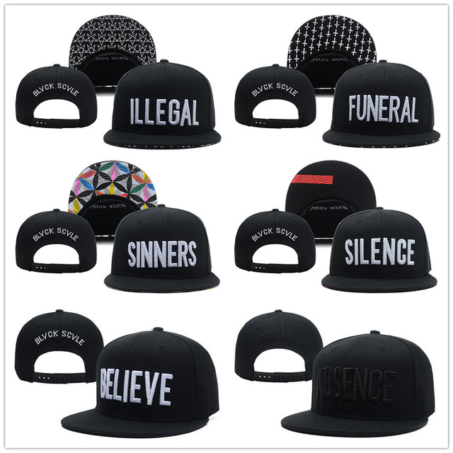 9bdd8f420dc73 Fashion Baseball Caps Black Scale Men Snapback Letters Silence Funeral  Illegal Sinners Absence Believe Adjustable Hats Snap Back. Price