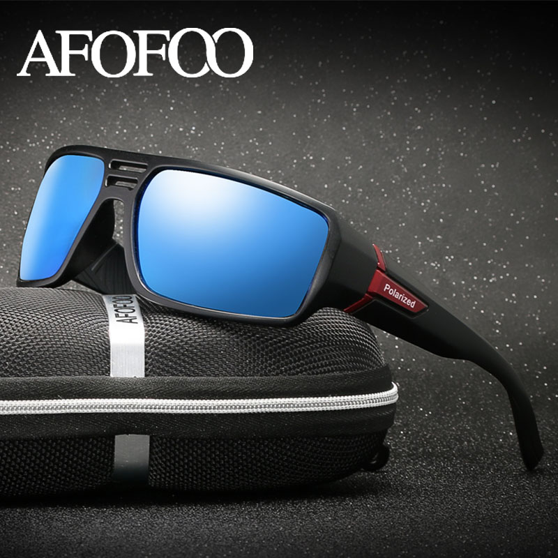 AFOFOO Brand Design Polarized Sunglasses Goggle Men Driving Sun Glasses Square Night Vision Glasses Eyewear UV400 Shades Gafas