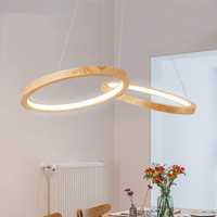 Wooden LED Pendant Lights For Dining Room two Wooden Round Lustre Wood Kitchen Luminaire Kitchen Hanging Lamp