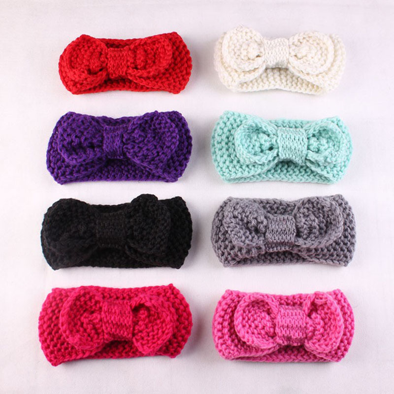 2017 Kids winter knit headband for newborn toddler soft hair bow crochet infant winter Children /Girls hair accessory newborn photography props child headband baby hair accessory baby hair accessory female child hair bands infant accessories