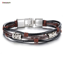 Starbeauty Simple Carved Barrel Leather Bracelet Men Bracelet Multi-layer Brown Bracelets Bangles for Men Jewelry Cool Wristband