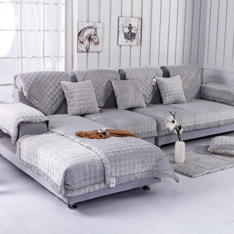 Covering A Sofa With Fabric: Fleeced Fabric Sofa Cover European Style Soft Modern Slip