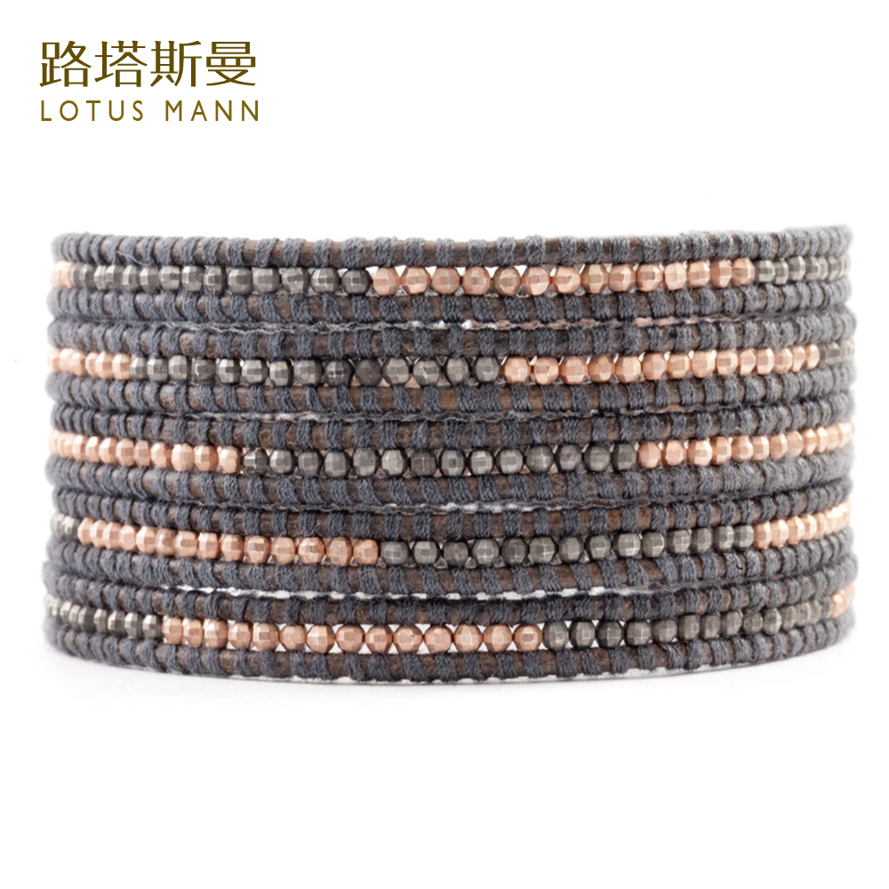 Lotus Mann Sterling silver gun and rose gold woven five laps grey leather cord bracelet цена