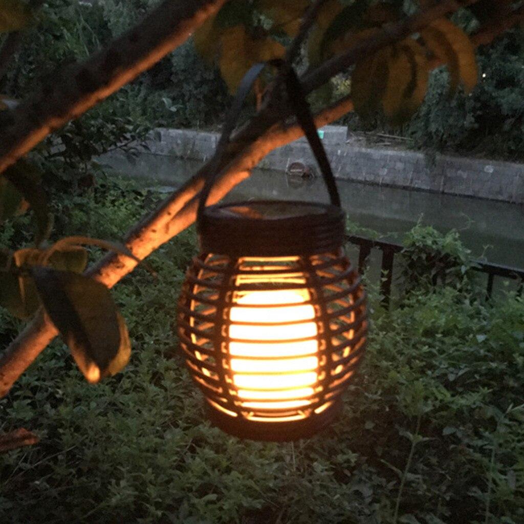 Solar Charging Industrial Vintage Metal Cage Hanging Ceiling Pendant Light Holder Lamp Shade rattan flame lamp Waterproof deco
