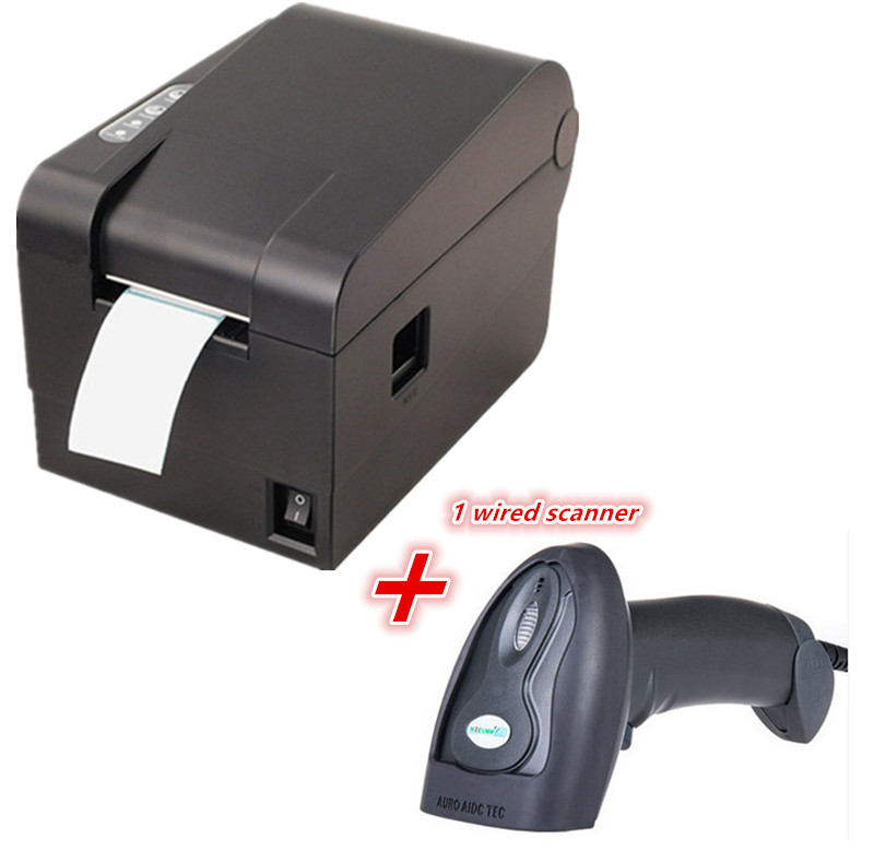 1 Wired Barcode Scanner clothing tag 58mm Thermal barcode printer sticker printer Qr code the non
