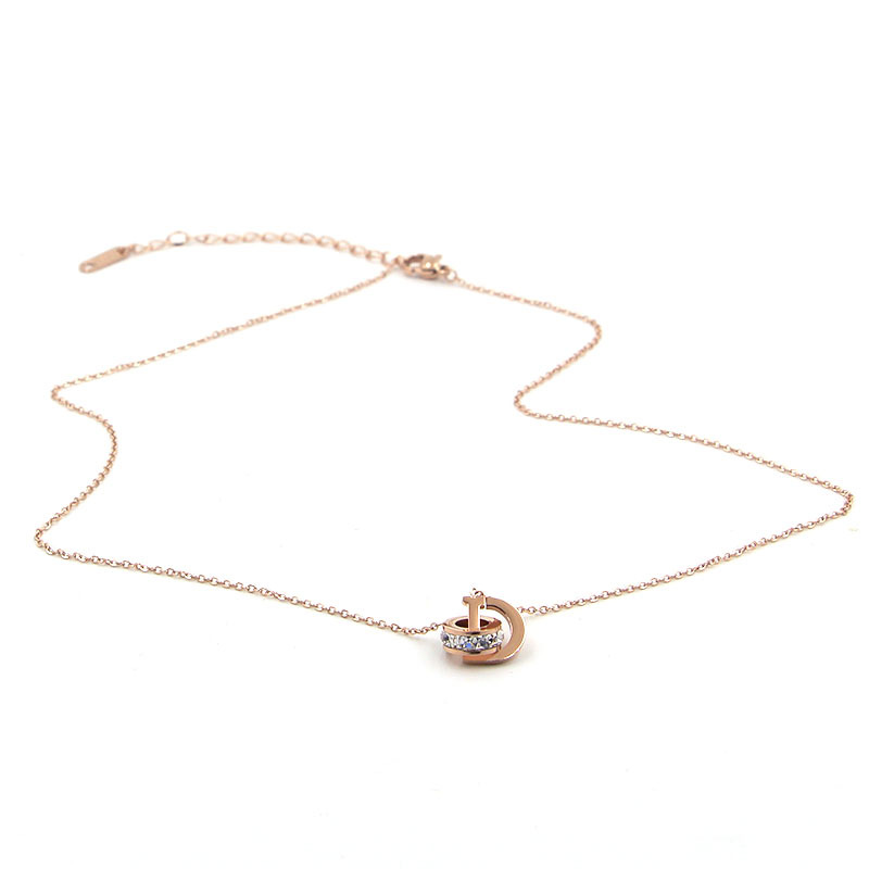 New D Letter And Crystal Annulus Interlocking Rose Gold Pendant Necklace 316 Stainless Steel High Polished Necklace For Women 7