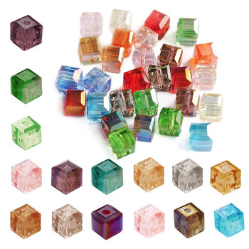 5600 100pcs 4mm Crystal Cube Square Beads DIY Jewellery Making For Bracelet Necklace Center Drilled Wholesale CR0355