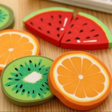 1pcs/pack Cute Fresh Fruit design eraser Kawaii Watermelon Orange Kiwifruit erasers students' gift prize office school supplies(China)