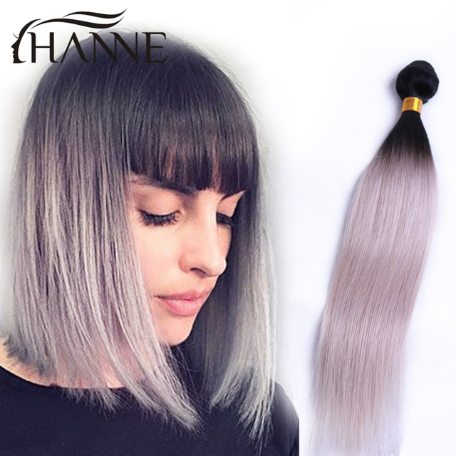 Indian Straight Ombre Hair 1b Light Grey Hair Weave 3 Bundles Ombre