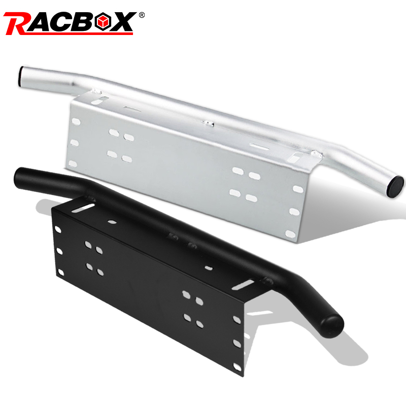 RACBOX License Plate Mounting Holder For Offroad LED Light Bar Work Light Spotlight Beams Mount Brackets Bull Bumper Front Black