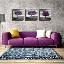 3PCS Purple Trees Landscape Artwork Giclee Canvas Prints Fall Forest Pictures Paintings on Canvas Wall Art for Living Room Decor недорго, оригинальная цена