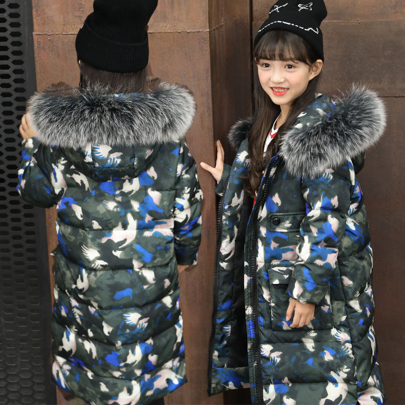 Fashion Girls Down Jacket Camouflage Teenager Children Winter Coat Real Raccoon Fur Duck Down Jacket Girls Long Clothing TZ235 fashion children s long jacket fur collar padded jacket duck down baby boy girls winter thick warm new children s clothing 2 7t page 9