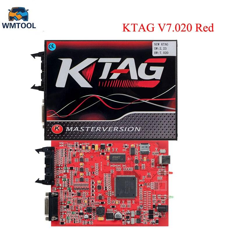 Интернет-ЕС красный Мастер Версия KTAG V7.020 V2.23 ЭБУ чип-тюнинг Программирование инструмент Нет Маркер предел K-TAG 7.020 Бесплатная доставка ...