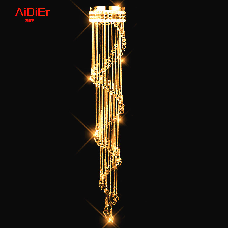 Modern minimalist Europestairs light K9 crystal chandelier lamp long Villa clubs hanging line lighting living room lighting modern crystal chandelier hanging lighting birdcage chandeliers light for living room bedroom dining room restaurant decoration